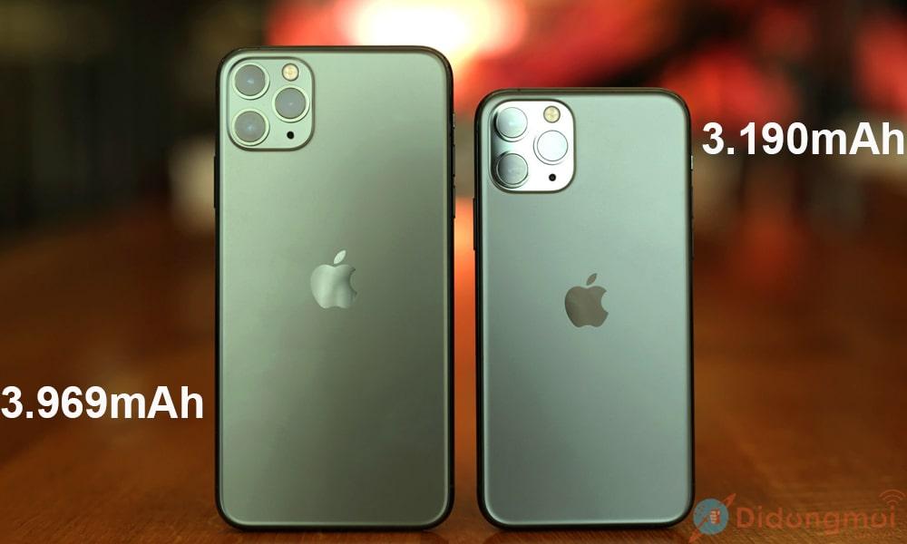 iPhone 11 pro khác pro max ở dung lượng Pin