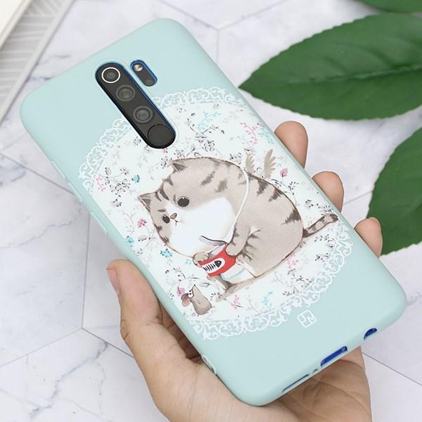 Ốp lưng Redmi Note 8 nhựa dẻo Solid printing Mèo Béo